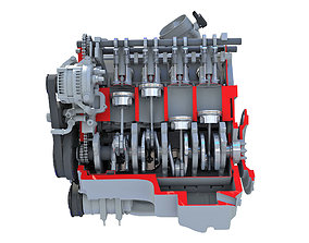 3D model Sectioned V8 Engine