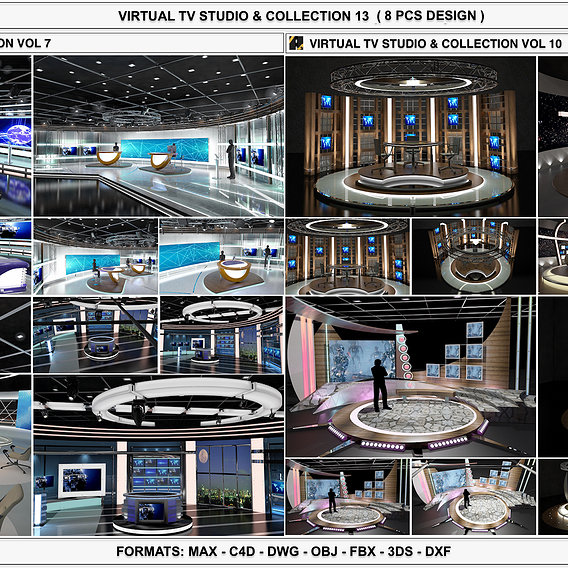 3D Virtual TV Studio Sets - Collection Vol 13 - 8 PCS DESIGN