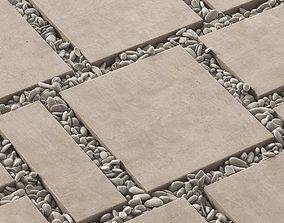 3D model Paving tile square pebble n2