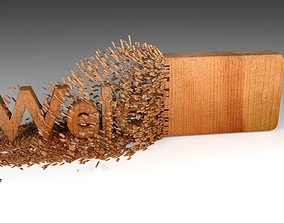 3D model Wood Chipping Welcome Text Animation