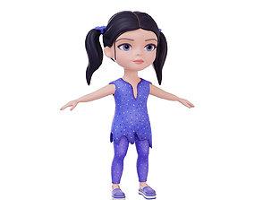 3D model Stylized character girl brunette