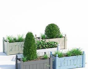 Timber trough planter 3D model