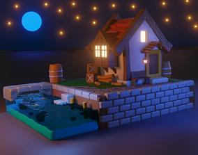 Cartoon house forest 3D model