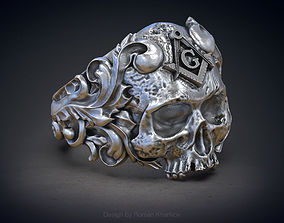 Classical Masonic ring with a skull 3d model for 3d 1