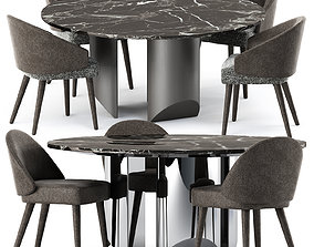 Lawson Dining Chair and Wedge Table by Minotti 3D model