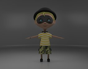 Cool boy cartoon character 3D model