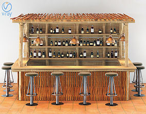 Kiosco Beach Set Decoration Taburete Bar Stools 3D model 1