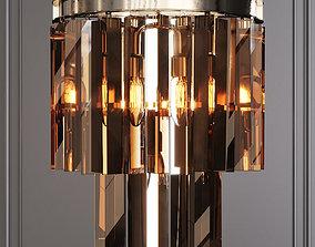 3D RH 1920S ODEON SMOKE GLASS FRINGE SCONCE Nickel