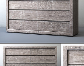 RECLAIMED RUSSIAN OAK 6-DRAWER DRESSER Grey 3D