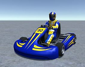 3D model Low Poly Kart With Player 5