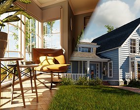 Classic style porch house with furniture 3D asset