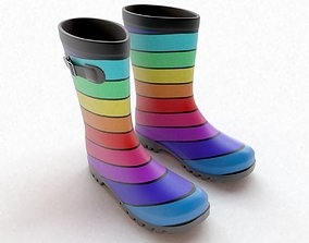 Striped Wellies with buckles 3D model