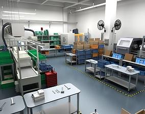 Factory Interior Scene and Equipment 2 3D