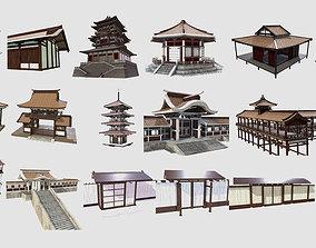 3D asset PBR Asian Buildings Collection