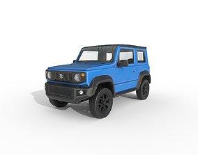 Low Poly Car - Suzuki Jimny Sierra 2019 Blue 3D asset