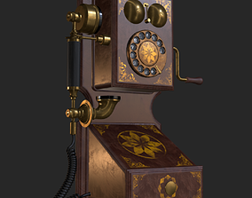 Old Antique Wall Telephone PBR 3D model
