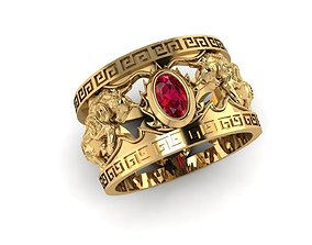 3D print model Two bull ring with ruby gemstone