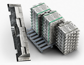 3D model Aluminium Zinc Nickel Silver Titan Steel ingot 3