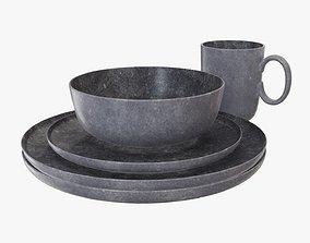 3D model Dinnerware set 04 mug bowl dinner salad plate