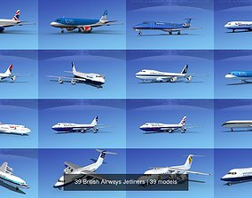 3D model 39 British Airways Jetliners