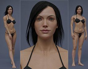 Female Black Hair Rig 3D model