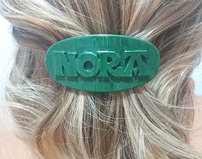 3D printable model NORA Personalized Oval Hair Barrete 1