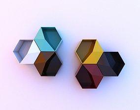 3D Metal Hexagonal Hanging Shelf