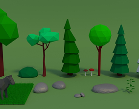 Forest Assets Low Poly 3D model