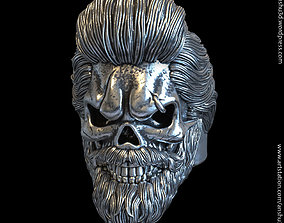 Skull with beard vol1 ring 3D print model