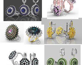 Rings and earrings flower shape 3D
