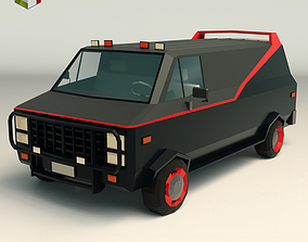 3D asset Low Poly A-Team Van