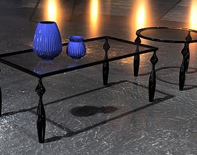 Set of 2 Coffee tables steel 3D model