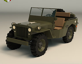 3D model Low Poly Military Jeep 01