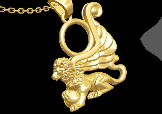 Lion Sculpture pendant jewelry gold necklace medallion 3D print model