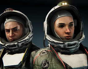 3D asset animated Cosmonaut Female and Male