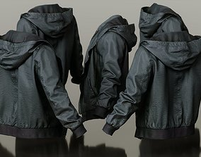 3D asset Mens Clothing Leather Jacket Open