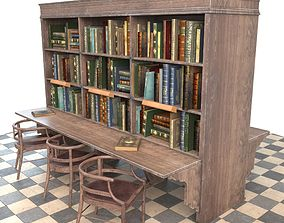 Bookshelf and chairs 3D asset