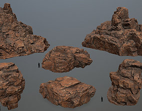 desert rocks set 3D asset game-ready