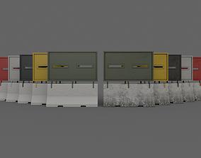 PBR Concrete Roadblock Barrier V5 3D model