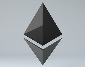 low-poly Ethereum Crypto Currency 3D Logo