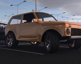 rigged Niva 3D model car