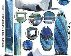 Shanghai World Financial Center and Swiss Re and Heydar 3D