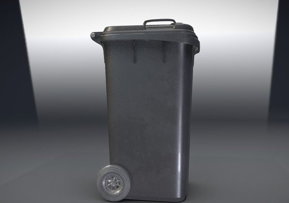 Black Plastic Waste Bin 240 Liters 945x393x480