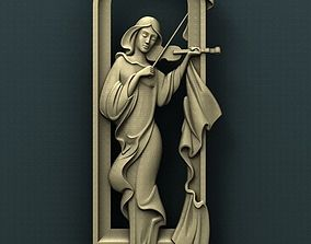 Girl with Violin 3d STL Model for CNC