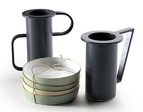 3D model Stack of Plates with Vases