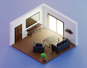Day low poly living room 3D asset low-poly