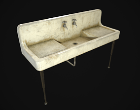 Antique Kitchen Sink 3D asset