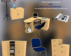 3D model low-poly Office Set