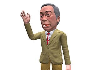 Nigel Farage caricature 3D model