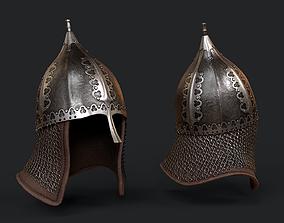 Lowpoly Russian Medieval Helmet 3D model realtime